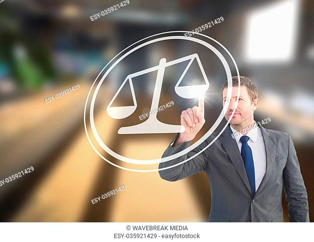 businessman pointing at justice icon