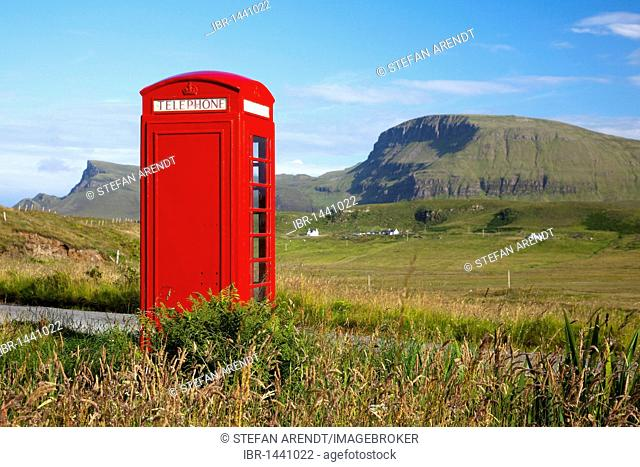 Lonely phone booth on the Isle of Skye, Highland Council, Scotland, United Kingdom, Europe