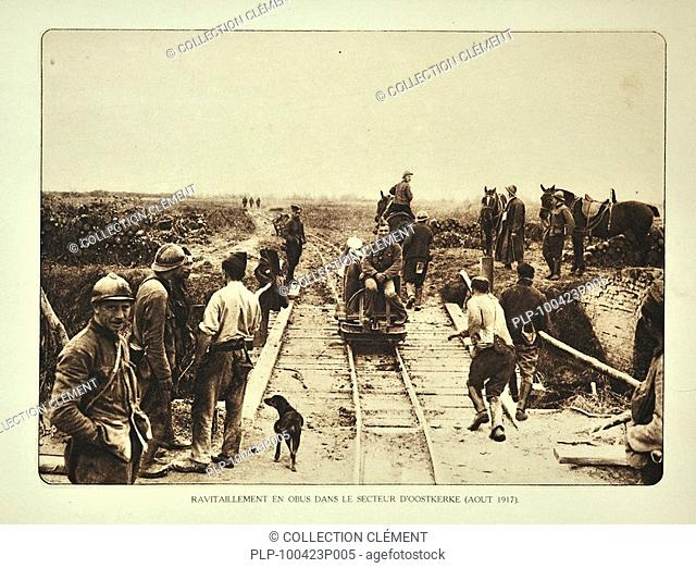 Supply of grenades / shells by rail for the battlefield at Oostkerke in Flanders during the First World War, Belgium