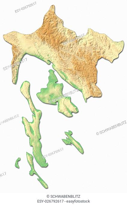 Relief map of Primorje-Gorski Kotar, a province of Croatia, with shaded relief