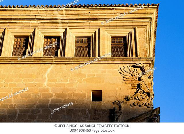 Detail of Saint Carlos Palace, in Main Square of Trujillo  Cáceres  Extremadura  Spain