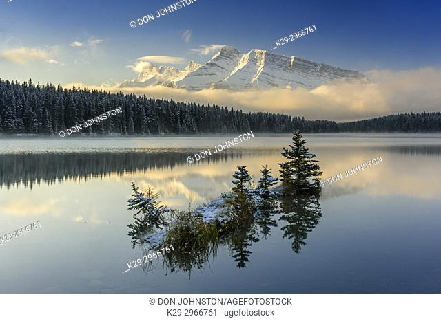 Mt. Rundle reflected in Two Jack Lake, Banff National Park, Alberta, Canada