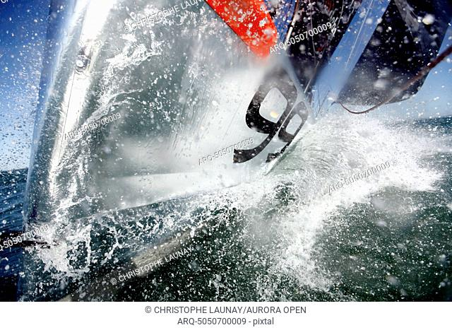 Onboard the IMOCA Racing Hugo Boss during a training session before the Vendee Globe in the English Channel