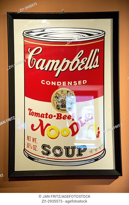 'this is not by me', paintings from Cambell's soup can by Andy Warhol, at exposition at Agrigento, Sicily, Italy