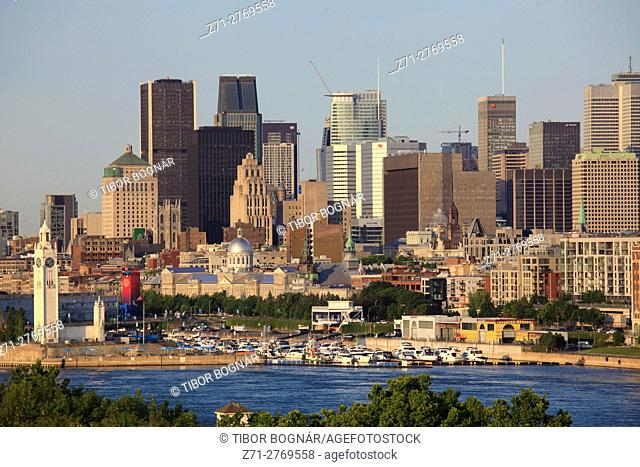 Canada, Quebec, Montreal, skyline, panorama, St Lawrence River,