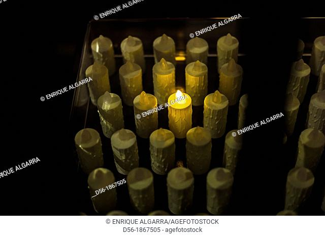 Electric candle in a Church, Ubeda, Jaen, Andalucia, Spain