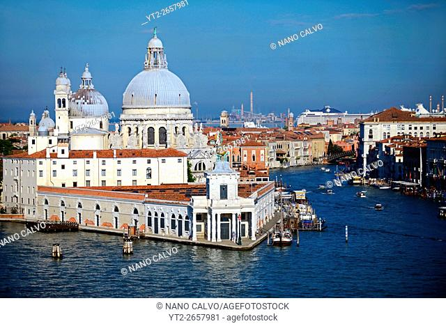 The Basilica di Santa Maria della Salute (Basilica of Saint Mary of Health) and entrance to the Grand Canal, from the Canale di San Marco, Venice