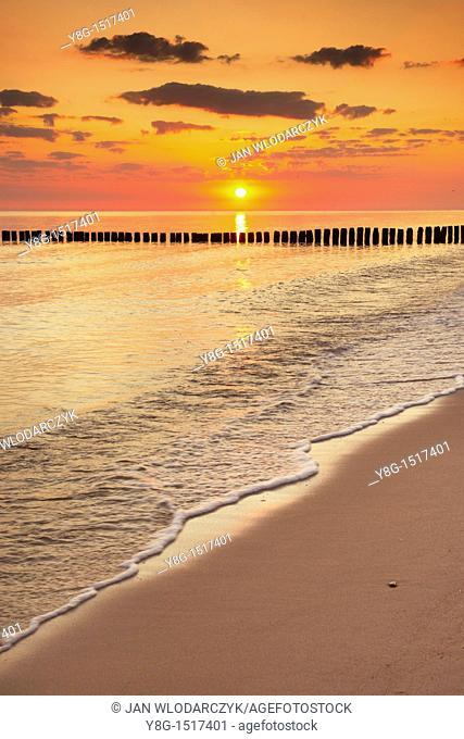 Sunrise at the Baltic Sea, Pomerania, Poland, Europe