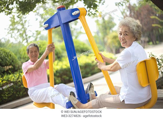 Elderly couple outdoors, healthy life