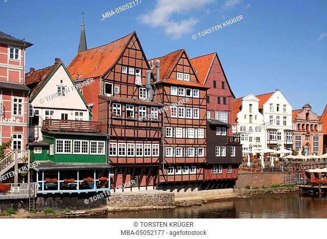 Luneburg, historical houses at Stintmarkt with Ilmenau area