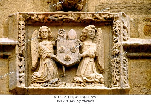 Pilgrims shells on the church of Maurs, Cantal, Auvergne, France