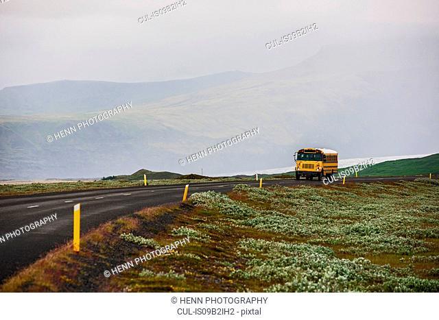 School bus on a lonely road, Skaftafell, Iceland