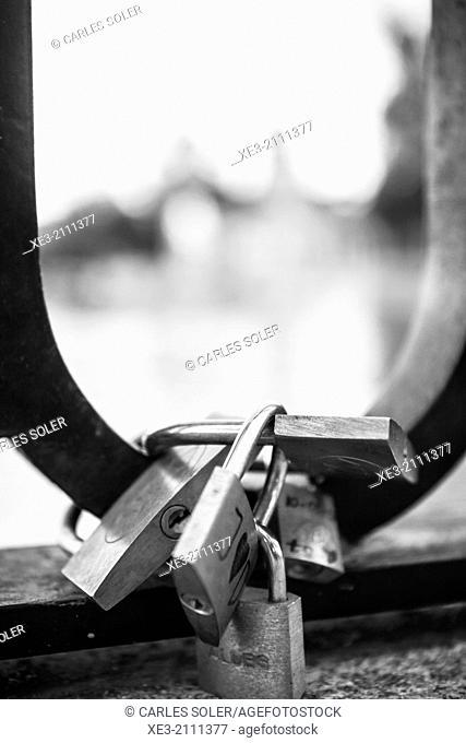 Love padlocks, El Retiro, Madrid. Spain
