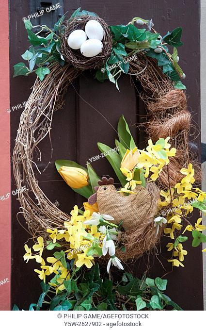 Decorative wreath adorns a doorway in the Golden Lane area, Prague Castle, Czech Republic