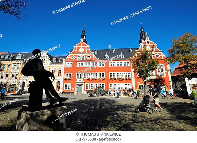 Statue of Johann Sebastian Bach with town hall, Arnstadt near Erfurt, Thuringia, Germany