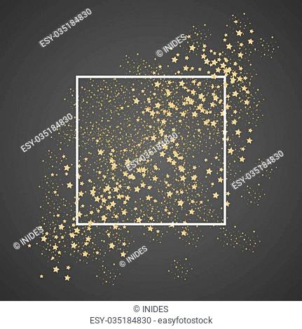 Gold sparkles and stars with white frame on black background. Glitter shimmery cosmic sky for card template, greetings, thank you cards