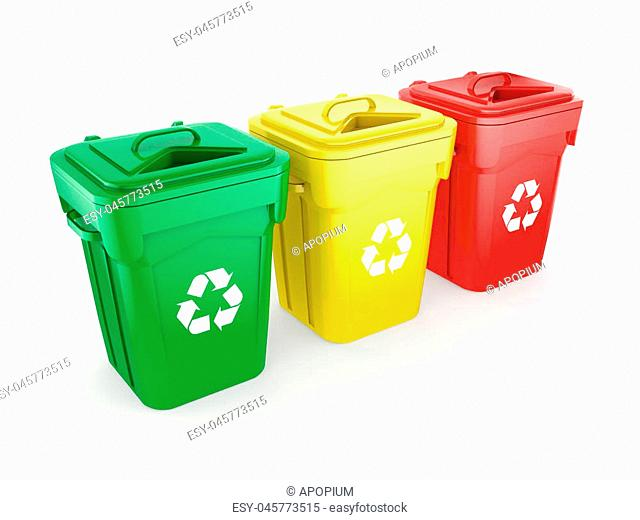 3D rendering Multicolor recycling isolated bins on white background