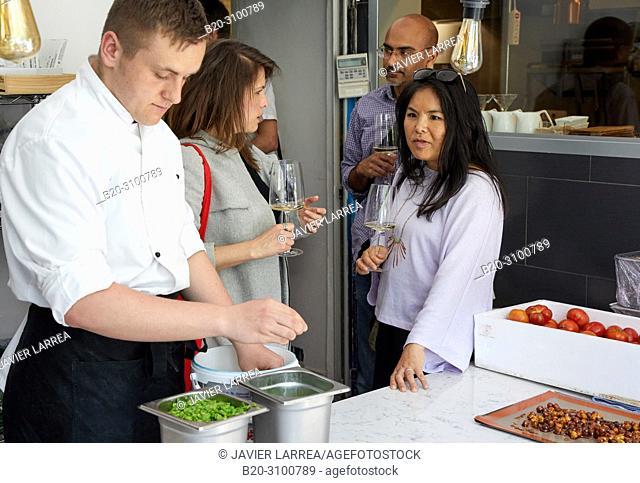 Kitchen, Restaurante Rita, Gastronomic tour, guide with tourists, Donostia, San Sebastian, Gipuzkoa, Basque Country, Spain, Europe