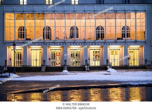 Germany, Bavaria, Munich, Bayerische Staatsoper, operahouse, evening