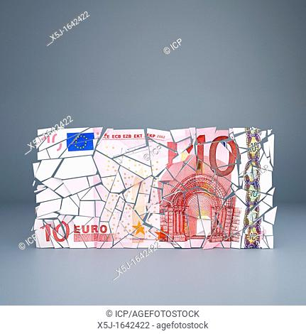 Ten Euro note crumbling - representing the break up of the European Union single currency / default of Eurozone countries