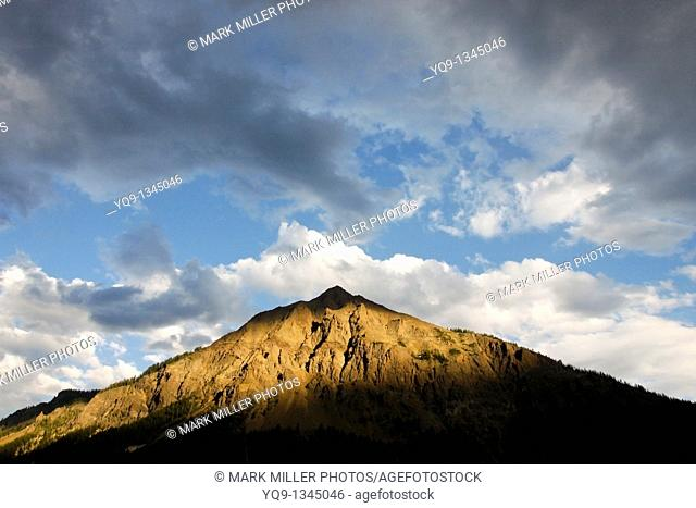Mount Republic and Afternoon Storm Clouds, Mountains by Cooke City and Silver Gate, Montana, USA, just outside Yellowstone National Park's  Northeast Entrance