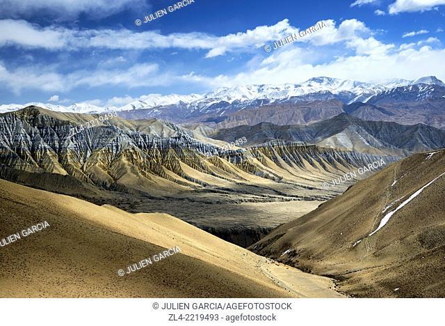 Mineral landscape near the village of Ghemi. Nepal, Gandaki, Upper Mustang (near the border with Tibet)