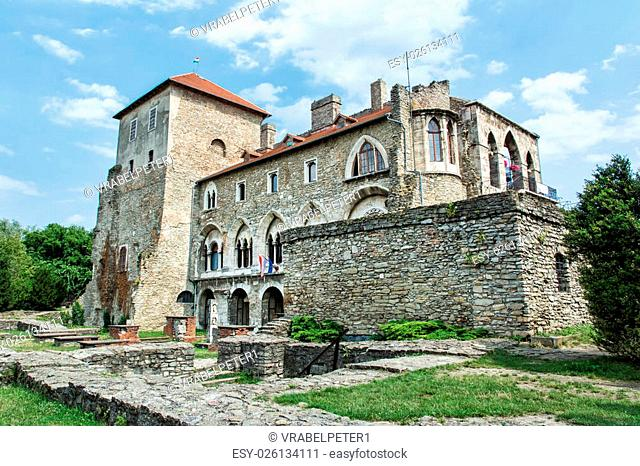 Beautiful castle in Tata, Hungary. Travel destination. Architectural theme. Beautiful place. Historic object