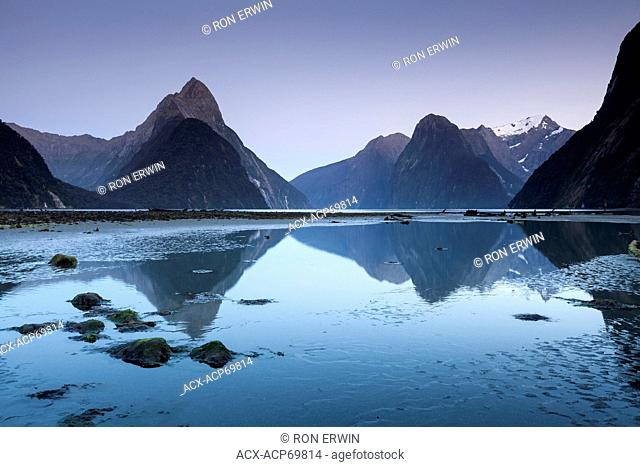 Morning at Milford Sound, a fiord on the West Coast of New Zealand's South Island in Fiordland National Park