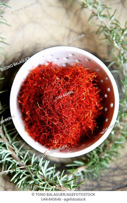 Saffron, appreciated red spice in vivid red orange color