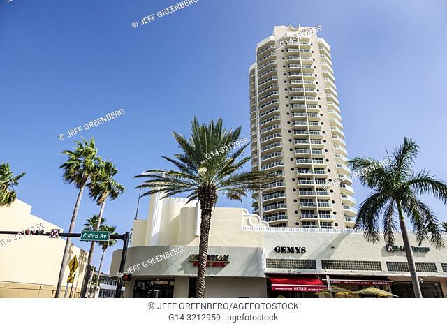 Florida, Miami Beach, North Beach, Saint Tropez high-rise condominium building, Collins Avenue businesses