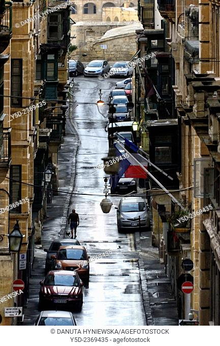narrow street in the evening, Valletta, Malta, Europe