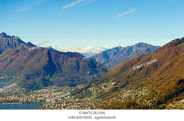 Mountain View With Snow-Capped Monte Rosa in a Sunny Day in Ticino, Switzerland