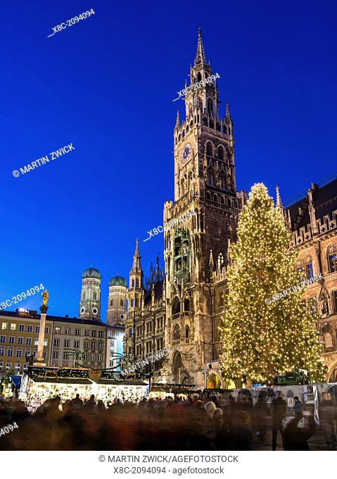 Christmas market in Munich. Marienplatz Marys Square and the Neue Rathaus New City Hall. Europe, Germany, Bavaria, Munich, December 2013