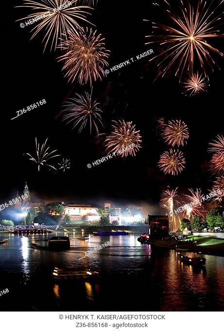 Poland Krakow Wianki, annual festival held on St John's night on the Vistula river by Wawel Hill
