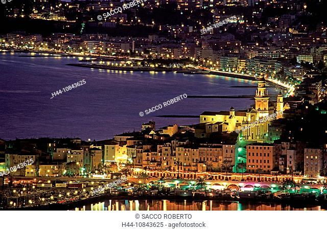 France, Europe, Menton, Alpes-Maritimes, Cote d'Azur, Mediterranean sea, Coast, Europe, Saint Michel church, Basilica