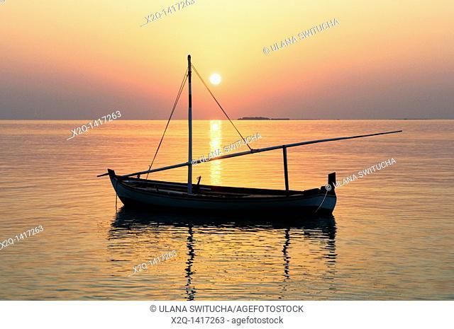 Traditional dhoni or dorni boat Maldives