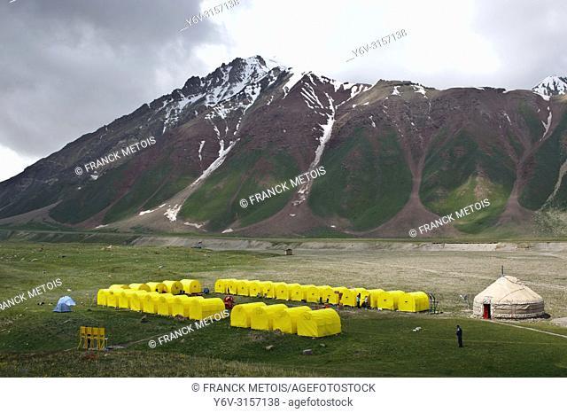 Camp base at Achik tash near peak Lenin ( Pamir mountains, Kyrgyzstan)