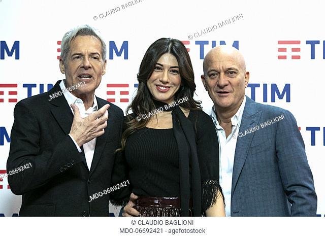 Italian singer and presenter Claudio Baglioni, Italian comedian and presenter Virginia Raffaele, Italian comedian and presenter Claudio Bisio in the Press Room...