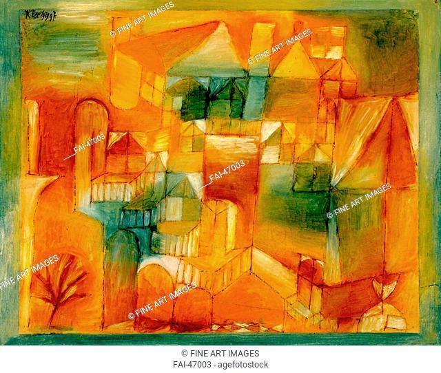 Façade Brown-Green by Klee, Paul (1879-1940)/Oil on paper/Modern/1919/Germany/Art Museum Basel/24x31/Abstract Art/Painting/Fasçsade braun-grün von Klee