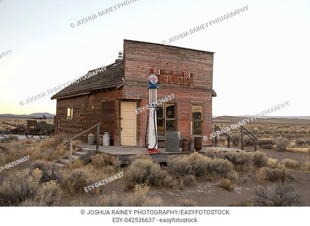 Fort Rock, OR - November 11, 2018: Old Fort Rock General Store abandoned and deserted in rural Central Oregon