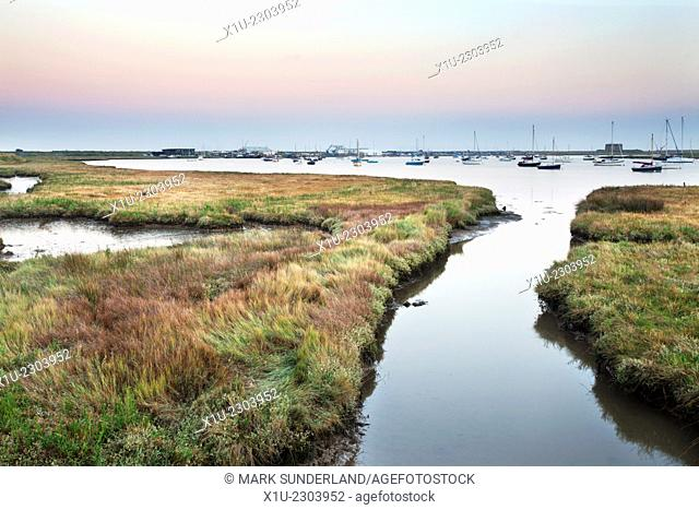 Aldeburgh Marshes and Slaughden Quay at Dusk Suffolk England