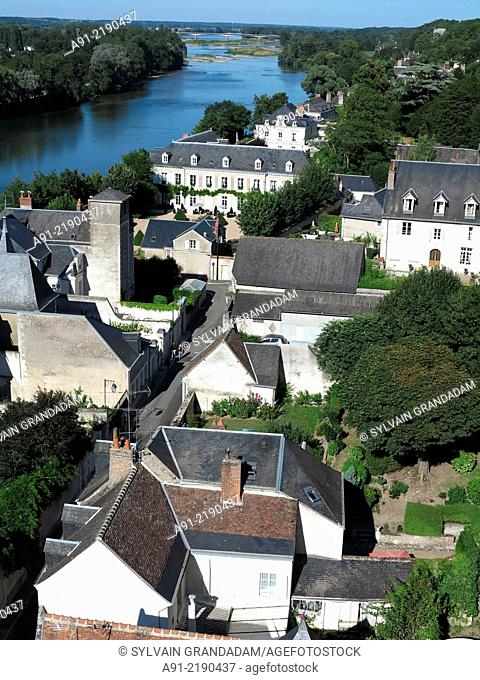 France, Touraine, Indre-et-Loire, historic city of Amboise, view on Loire from the castle