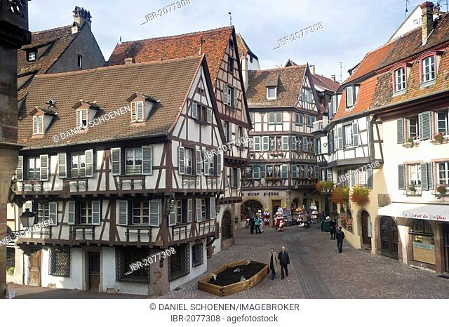 Half-timbered houses, old town of Colmar, Alsace, France, Europe