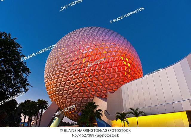 Spaceship Earth geosphere, Epcot, Walt Disney World, Orlando, Florida USA