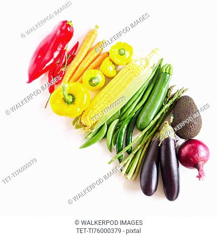 Composition of multicolored vegetables