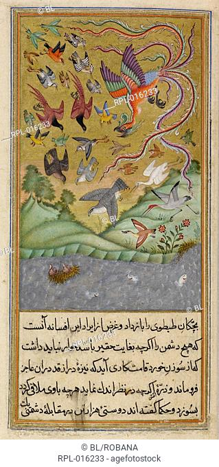 The sandpipers on their nest on the water while the simurgh leads the army of birds to their rescue. A miniature painting from a seventeenth century manuscript...