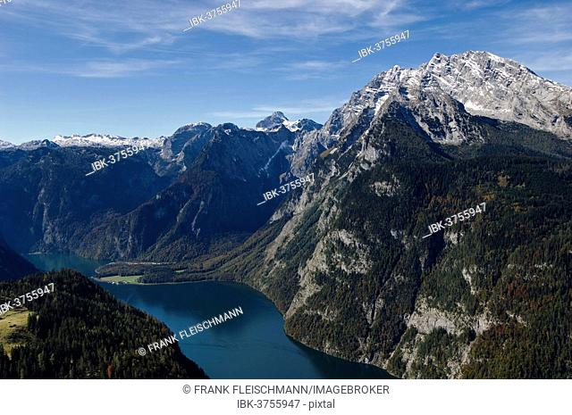 Aerial view, Koenigssee lake surrounded by mountains, Königssee, Berchtesgadener Land District, Upper Bavaria, Bavaria, Germany