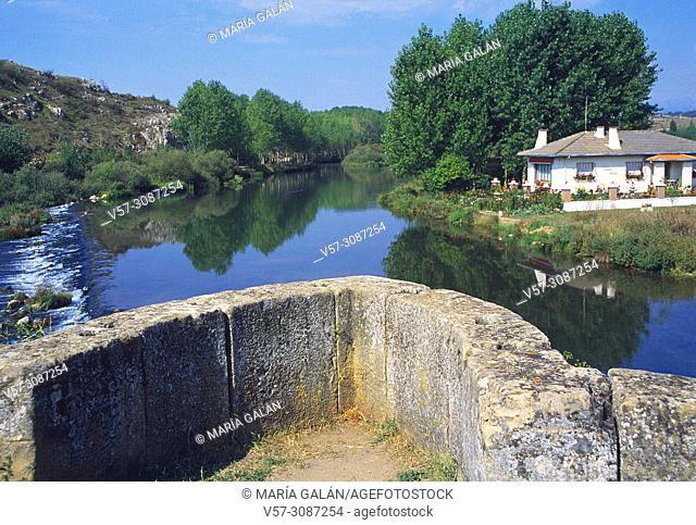River Pisuerga. Salinas de Pisuerga, Palencia province, Castilla Leon, Spain