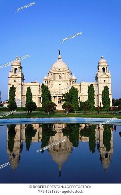The Victoria Memorial and reflection, Calcutta, West Bengal, India
