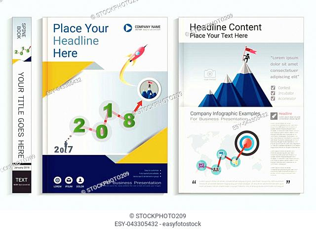 Cover book design template with presentation infographics elements, Use for annual report, proposal, brochure, flyer, leaflet, catalog, magazine, booklet